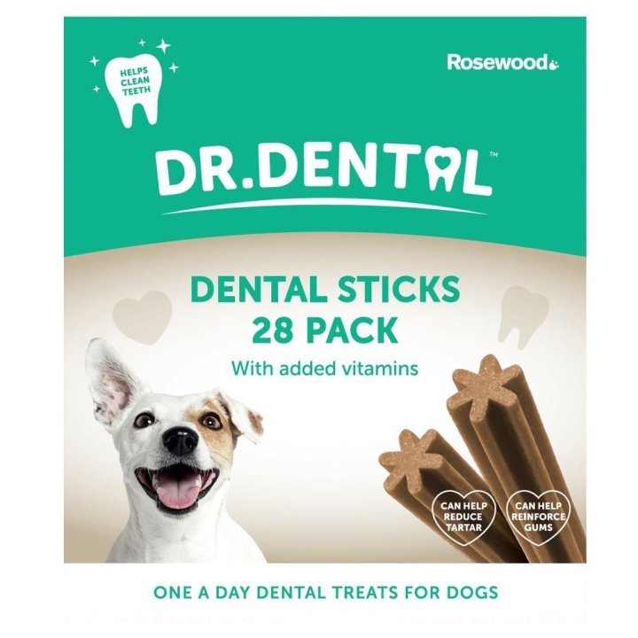Dr Dental Dental Treats for Dogs by Rosewood Pack front 28 pack