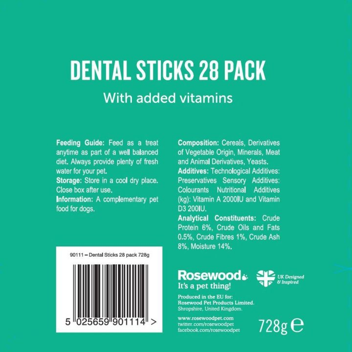 Dr Dental Dental Treats for Dogs by Rosewood Pack reverse 28 pack