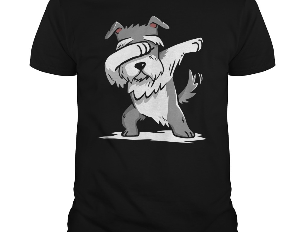 Schnauzer Dabbing in Adult sized tshirt