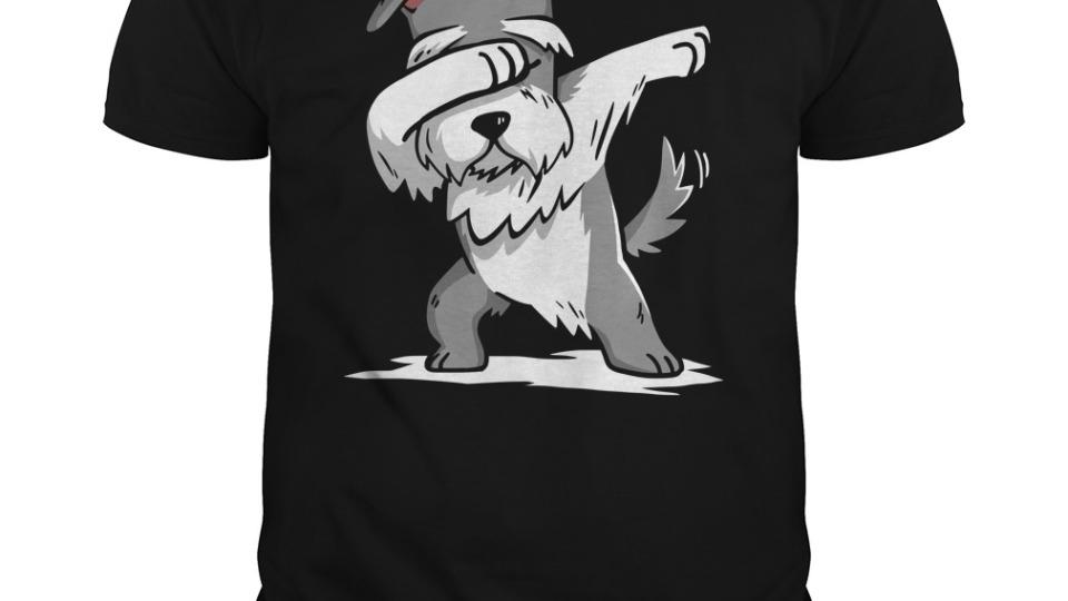 Schnauzer Dabbing in Adult sized tshirt